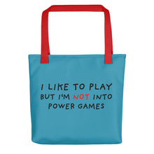 Load image into Gallery viewer, Power Games | Blue | Tote Bag-tote bags-Red-Eggenland