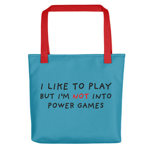 Power Games | Blue | Tote Bag-tote bags-Red-Eggenland