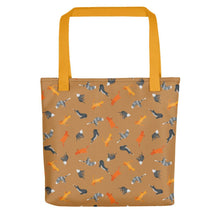 Load image into Gallery viewer, Funky Cats Pattern | Light Brown | Tote Bag-tote bags-Yellow-Eggenland