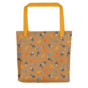 Funky Cats Pattern | Light Brown | Tote Bag-tote bags-Yellow-Eggenland