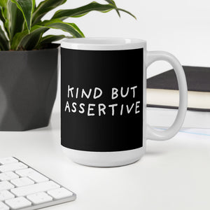 Kind But Assertive | Black | Mug-mugs-Eggenland