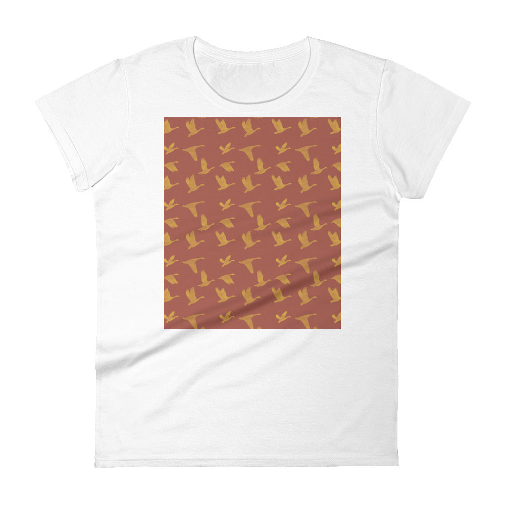 Flying Birds Pattern | Red | Women's Short-Sleeve T-Shirt-t-shirts-White-S-Eggenland