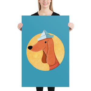 Dog with Newspaper Hat | Poster-posters-24×36-Eggenland