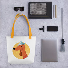 Load image into Gallery viewer, Dog with Paper Hat | White | Tote Bag-tote bags-Eggenland
