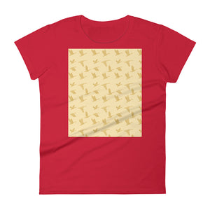 Flying Birds Pattern | Yellow | Women's Short-Sleeve T-Shirt-t-shirts-Red-S-Eggenland