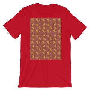 Flying Birds Pattern | Red | Short-Sleeve Unisex T-Shirt-t-shirts-Red-S-Eggenland