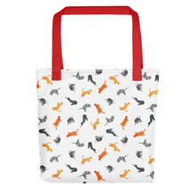 Load image into Gallery viewer, Funky Cats Pattern | White | Tote Bag-tote bags-Red-Eggenland