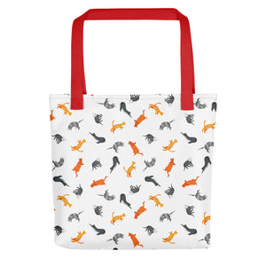 Funky Cats Pattern | White | Tote Bag-tote bags-Red-Eggenland