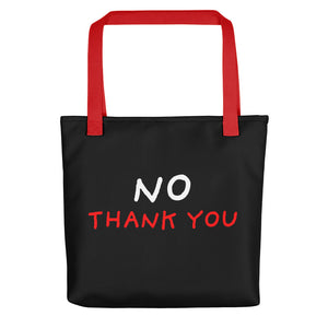No Thank You | Black | Tote Bag-tote bags-Red-Eggenland
