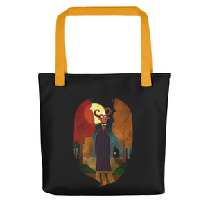 Deer Creature at Night | Black | Tote Bag-tote bags-Yellow-Eggenland