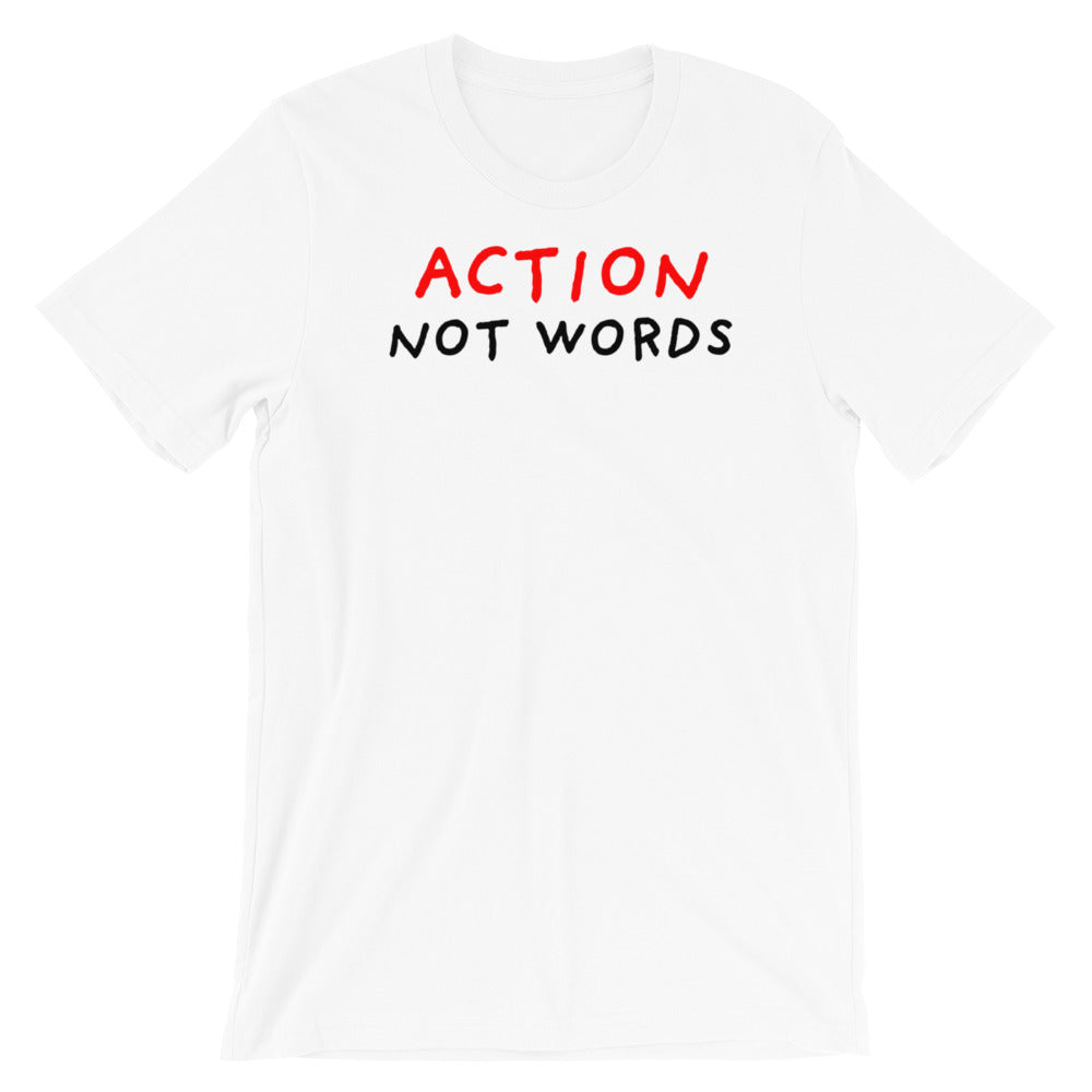 Action Not Words | Short-Sleeve Unisex T-Shirt-t-shirts-White-S-Eggenland