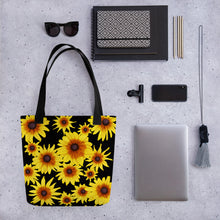 Load image into Gallery viewer, Blooming Flowers | Black | Tote Bag-tote bags-Eggenland