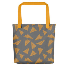 Load image into Gallery viewer, Paper Planes Pattern | Grey and Golden | Tote Bag-tote bags-Yellow-Eggenland