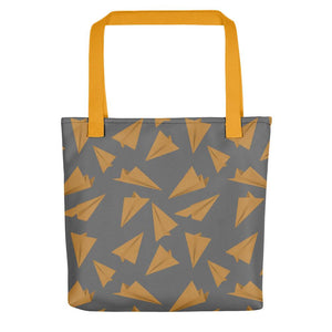 Paper Planes Pattern | Grey and Golden | Tote Bag-tote bags-Yellow-Eggenland