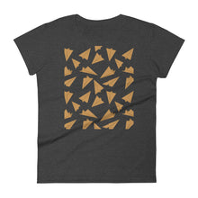 Load image into Gallery viewer, Paper Planes Pattern | Golden | Women's Short-Sleeve T-Shirt-t-shirts-Heather Dark Grey-S-Eggenland