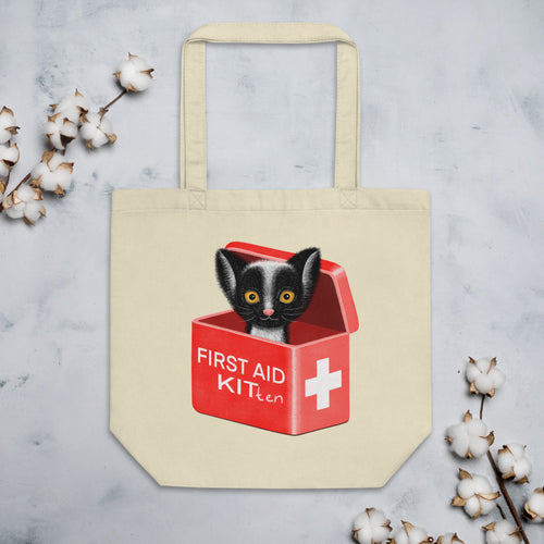 First Aid Kitten | Eco Tote Bag-tote bags-Oyster-Eggenland