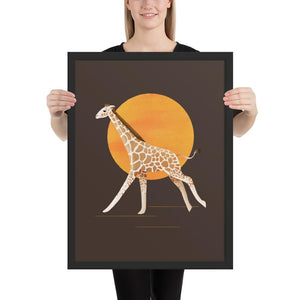 Giraffe and Sun | Illustration | Brown | Framed Posters-framed posters-Black-18×24-Eggenland