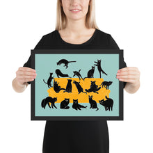 Load image into Gallery viewer, Black Cats Party | Blue | Illustration | Framed Poster-framed posters-Black-12×16-Eggenland