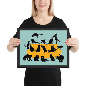 Black Cats Party | Blue | Illustration | Framed Poster-framed posters-Black-12×16-Eggenland