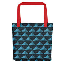 Load image into Gallery viewer, Newspaper Hats Pattern | Dark Blue | Tote Bag-tote bags-Red-Eggenland