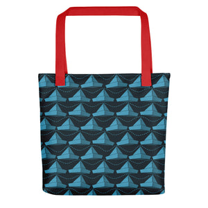 Newspaper Hats Pattern | Dark Blue | Tote Bag-tote bags-Red-Eggenland