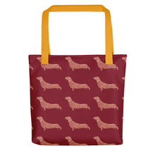 Load image into Gallery viewer, Dachshund Dog Pattern | Red | Tote Bag-tote bags-Yellow-Eggenland