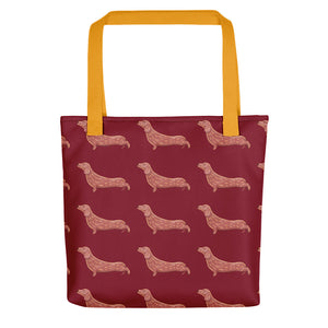 Dachshund Dog Pattern | Red | Tote Bag-tote bags-Yellow-Eggenland