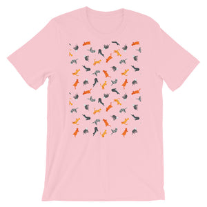Funky Cats Pattern | Short-Sleeve Unisex T-Shirt-t-shirts-Pink-S-Eggenland