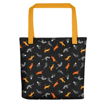 Load image into Gallery viewer, Funky Cats Pattern | Black | Tote Bag-tote bags-Yellow-Eggenland