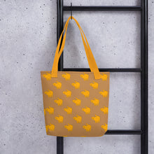 Load image into Gallery viewer, Yellow Cat Pattern | Light Brown | Tote Bag-tote bags-Eggenland