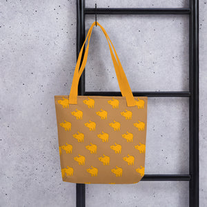Yellow Cat Pattern | Light Brown | Tote Bag-tote bags-Eggenland