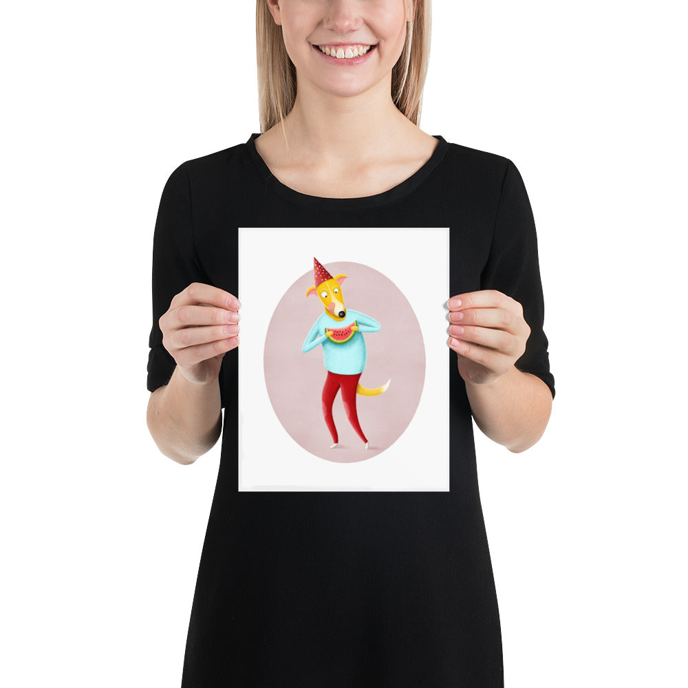 Dog with Watermelon | Illustration | Poster-posters-8×10-Eggenland