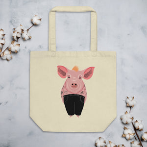 Cool Pig With Tattoos | Eco Tote Bag-tote bags-Oyster-Eggenland