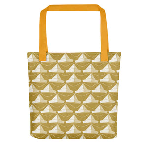 Newspaper Hats Pattern | Golden | Tote Bag-tote bags-Yellow-Eggenland