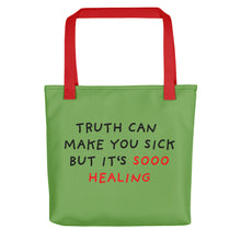 Load image into Gallery viewer, Truth Is Healing | Green | Tote Bag-tote bags-Red-Eggenland