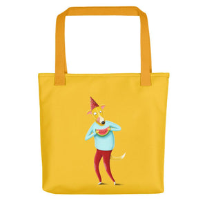 Dog with Watermelon | Yellow | Tote Bag-tote bags-Yellow-Eggenland