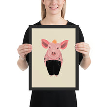 Load image into Gallery viewer, Cool Pig With Tattoos | Illustration | Cream | Framed Posters-framed posters-Black-12×16-Eggenland