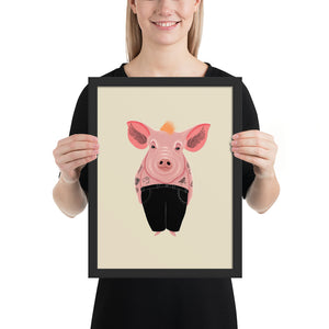 Cool Pig With Tattoos | Illustration | Cream | Framed Posters-framed posters-Black-12×16-Eggenland