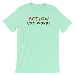 Action Not Words | Short-Sleeve Unisex T-Shirt-t-shirts-Heather Mint-S-Eggenland