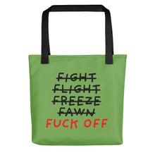 Load image into Gallery viewer, Five F of Fear | Green | Tote Bag-tote bags-Black-Eggenland