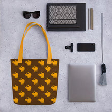 Load image into Gallery viewer, Yellow Cat Pattern | Brown | Tote Bag-tote bags-Eggenland