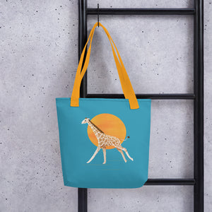 Giraffe and Sun | Blue | Tote Bag-tote bags-Eggenland