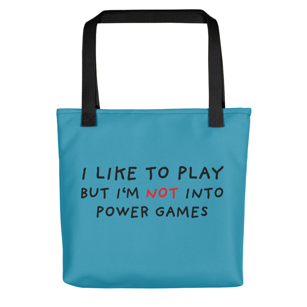 Power Games | Blue | Tote Bag-tote bags-Black-Eggenland