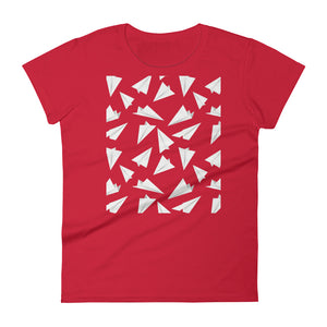 Paper Planes Pattern | Women's Short-Sleeve T-Shirt-t-shirts-Red-S-Eggenland