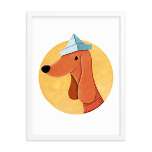 Dog With Newspaper Hat | Illustration | Framed Poster-framed posters-Eggenland