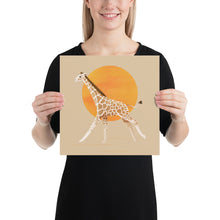 Load image into Gallery viewer, Giraffe and Sun | Cream | Poster-posters-12×12-Eggenland