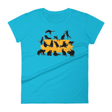 Load image into Gallery viewer, Black Cats Party | Women's Short-Sleeve T-Shirt-t-shirts-Caribbean Blue-S-Eggenland