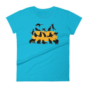 Black Cats Party | Women's Short-Sleeve T-Shirt-t-shirts-Caribbean Blue-S-Eggenland