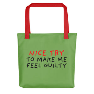Nice Try | Green | Tote Bag-tote bags-Red-Eggenland