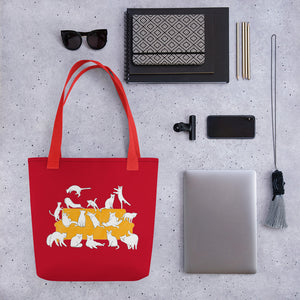 Cats Party | Red | Tote Bag-tote bags-Eggenland